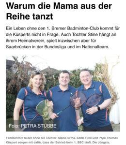 1. Bremer Badminton Club - Familienserie im Weser Kurier